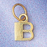 Initial B Charm Bracelet or Pendant Necklace in Yellow, White or Rose Gold DZ-9567b by Dazzlers