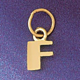 Initial F Charm Bracelet or Pendant Necklace in Yellow, White or Rose Gold DZ-9567f by Dazzlers