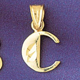 Initial C Charm Bracelet or Pendant Necklace in Yellow, White or Rose Gold DZ-9568c by Dazzlers