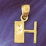 Initial H Charm Bracelet or Pendant Necklace in Yellow, White or Rose Gold DZ-9568h by Dazzlers
