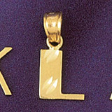 Initial L Charm Bracelet or Pendant Necklace in Yellow, White or Rose Gold DZ-9568l by Dazzlers