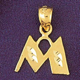 Initial M Charm Bracelet or Pendant Necklace in Yellow, White or Rose Gold DZ-9568m by Dazzlers