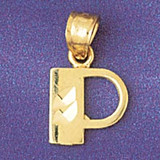 Initial P Charm Bracelet or Pendant Necklace in Yellow, White or Rose Gold DZ-9568p by Dazzlers