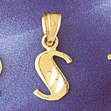 Initial S Charm Bracelet or Pendant Necklace in Yellow, White or Rose Gold DZ-9568s by Dazzlers