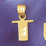 Initial T Charm Bracelet or Pendant Necklace in Yellow, White or Rose Gold DZ-9568t by Dazzlers