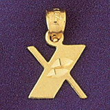 Initial X Charm Bracelet or Pendant Necklace in Yellow, White or Rose Gold DZ-9568x by Dazzlers