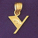 Initial Y Charm Bracelet or Pendant Necklace in Yellow, White or Rose Gold DZ-9568y by Dazzlers