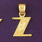 Initial Z Charm Bracelet or Pendant Necklace in Yellow, White or Rose Gold DZ-9568z by Dazzlers