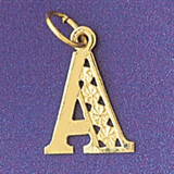 Initial A Charm Bracelet or Pendant Necklace in Yellow, White or Rose Gold DZ-9569a by Dazzlers