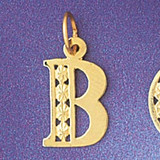 Initial B Charm Bracelet or Pendant Necklace in Yellow, White or Rose Gold DZ-9569b by Dazzlers
