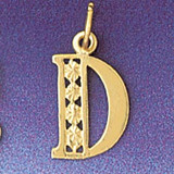 Initial D Charm Bracelet or Pendant Necklace in Yellow, White or Rose Gold DZ-9569d by Dazzlers