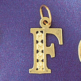 Initial F Charm Bracelet or Pendant Necklace in Yellow, White or Rose Gold DZ-9569f by Dazzlers