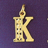 Initial K Charm Bracelet or Pendant Necklace in Yellow, White or Rose Gold DZ-9569k by Dazzlers
