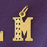 Initial M Charm Bracelet or Pendant Necklace in Yellow, White or Rose Gold DZ-9569m by Dazzlers