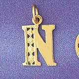 Initial N Charm Bracelet or Pendant Necklace in Yellow, White or Rose Gold DZ-9569n by Dazzlers