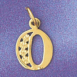 Initial O Charm Bracelet or Pendant Necklace in Yellow, White or Rose Gold DZ-9569o by Dazzlers