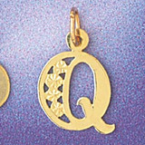 Initial Q Charm Bracelet or Pendant Necklace in Yellow, White or Rose Gold DZ-9569q by Dazzlers