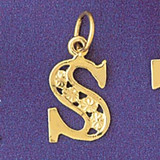 Initial S Charm Bracelet or Pendant Necklace in Yellow, White or Rose Gold DZ-9569s by Dazzlers