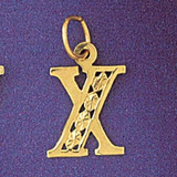 Initial X Charm Bracelet or Pendant Necklace in Yellow, White or Rose Gold DZ-9569x by Dazzlers