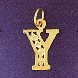 Initial Y Charm Bracelet or Pendant Necklace in Yellow, White or Rose Gold DZ-9569y by Dazzlers