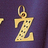 Initial Z Charm Bracelet or Pendant Necklace in Yellow, White or Rose Gold DZ-9569z by Dazzlers