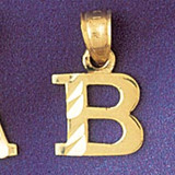 Initial B Charm Bracelet or Pendant Necklace in Yellow, White or Rose Gold DZ-9570b by Dazzlers
