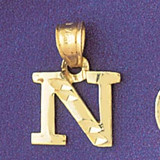 Initial N Charm Bracelet or Pendant Necklace in Yellow, White or Rose Gold DZ-9570n by Dazzlers