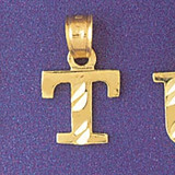 Initial T Charm Bracelet or Pendant Necklace in Yellow, White or Rose Gold DZ-9570t by Dazzlers