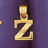 Initial Z Charm Bracelet or Pendant Necklace in Yellow, White or Rose Gold DZ-9570z by Dazzlers