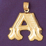 Initial A Charm Bracelet or Pendant Necklace in Yellow, White or Rose Gold DZ-9577a by Dazzlers