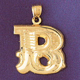 Initial B Charm Bracelet or Pendant Necklace in Yellow, White or Rose Gold DZ-9577b by Dazzlers