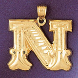 Initial N Charm Bracelet or Pendant Necklace in Yellow, White or Rose Gold DZ-9577n by Dazzlers