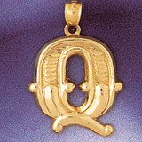Initial Q Charm Bracelet or Pendant Necklace in Yellow, White or Rose Gold DZ-9577q by Dazzlers