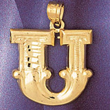 Initial U Charm Bracelet or Pendant Necklace in Yellow, White or Rose Gold DZ-9577u by Dazzlers