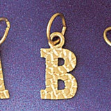 Initial B Charm Bracelet or Pendant Necklace in Yellow, White or Rose Gold DZ-9573b by Dazzlers