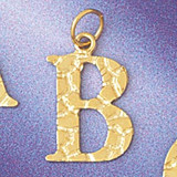 Initial B Charm Bracelet or Pendant Necklace in Yellow, White or Rose Gold DZ-9574b by Dazzlers