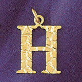 Initial H Charm Bracelet or Pendant Necklace in Yellow, White or Rose Gold DZ-9574h by Dazzlers