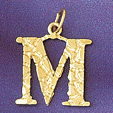 Initial M Charm Bracelet or Pendant Necklace in Yellow, White or Rose Gold DZ-9574m by Dazzlers