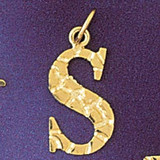Initial S Charm Bracelet or Pendant Necklace in Yellow, White or Rose Gold DZ-9574s by Dazzlers