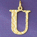 Initial U Charm Bracelet or Pendant Necklace in Yellow, White or Rose Gold DZ-9574u by Dazzlers