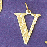 Initial V Charm Bracelet or Pendant Necklace in Yellow, White or Rose Gold DZ-9574v by Dazzlers
