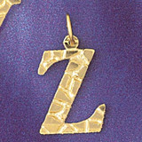 Initial Z Charm Bracelet or Pendant Necklace in Yellow, White or Rose Gold DZ-9574z by Dazzlers