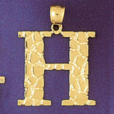 Initial H Charm Bracelet or Pendant Necklace in Yellow, White or Rose Gold DZ-9575h by Dazzlers