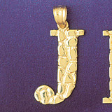 Initial J Charm Bracelet or Pendant Necklace in Yellow, White or Rose Gold DZ-9575j by Dazzlers