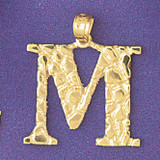Initial M Charm Bracelet or Pendant Necklace in Yellow, White or Rose Gold DZ-9575m by Dazzlers