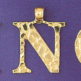 Initial N Charm Bracelet or Pendant Necklace in Yellow, White or Rose Gold DZ-9575n by Dazzlers