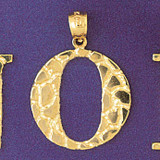 Initial O Charm Bracelet or Pendant Necklace in Yellow, White or Rose Gold DZ-9575o by Dazzlers