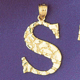 Initial S Charm Bracelet or Pendant Necklace in Yellow, White or Rose Gold DZ-9575s by Dazzlers