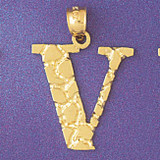 Initial V Charm Bracelet or Pendant Necklace in Yellow, White or Rose Gold DZ-9575v by Dazzlers