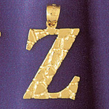 Initial Z Charm Bracelet or Pendant Necklace in Yellow, White or Rose Gold DZ-9575z by Dazzlers